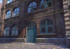 cobblestones walkway with old warehouse building