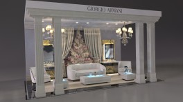 display with white lounge and chairs and christmas tree