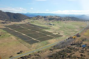 Aerial view of solar fields amongst australian farmland