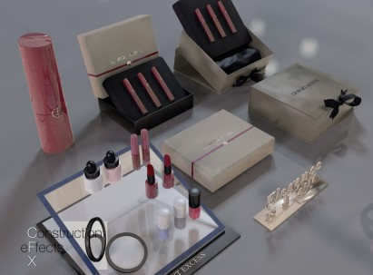 Giorgio Armani lipsticks, nail polish, perfume bottle, boxes