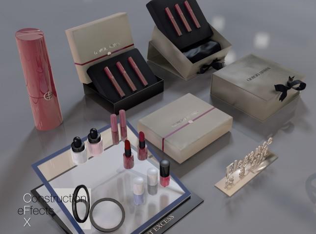 Giorgio Armani lipsticks, nail polish, perfume bottle, boxes