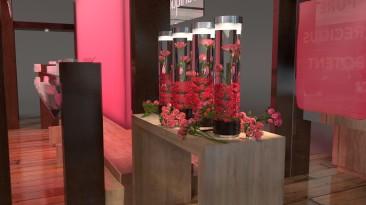 Close up of Pink Rose Tubes for Jurlique Display
