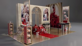 perspective of display stand with Julia Roberts image and xmas gifts