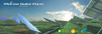 Solar Panels in large field against sky