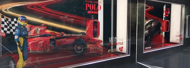 Close up of Ralph Lauren Formula One Window Visualisation