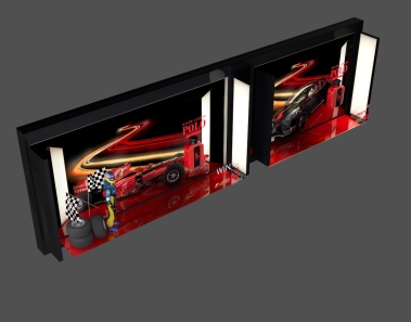 Two 3D boxes in space with cars and logos