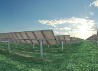 Back of Solar Panels in fields facing the sky