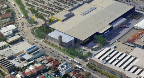 aerial view of Ikea Tempe building, car park and Princes highway