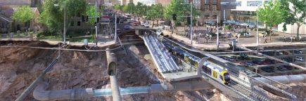 Cutaway of city showing underground